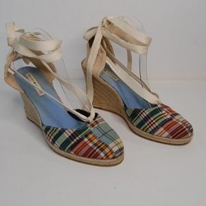 Tommy Hilfiger Plaid Ankle Wrap Espadrille Wedge